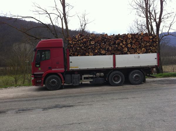 Trasporto legna umbra da ardere